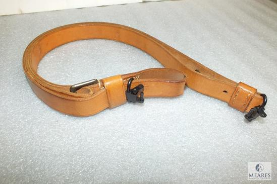 1 inch width leather military rifle sling with swivels