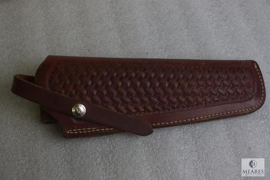 """Lawrence tooled leather holster fits Ruger Blackhawk with 6.5"""" barrel and similar revolvers"""