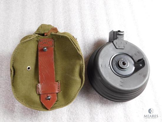Vintage 75 round AK 47 drum magazine with pouch 7.62x39