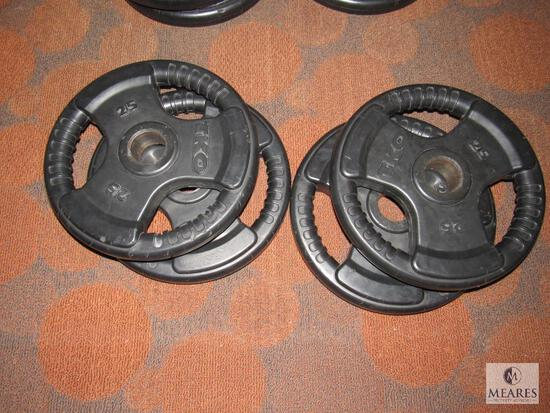 Lot of 4: TKO Tri-Grip Weight plates - 25 lbs each