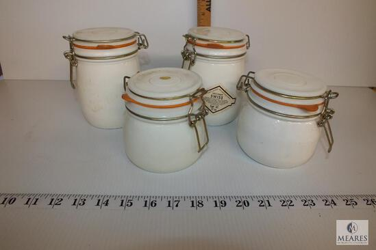 Set of 4 Cheese Crock Storage Jars