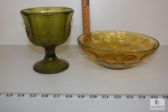 Vintage Green Pedastal Compote with Pressed Grape Design and Amber Bowl