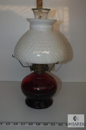 Vintage Ruby Red Base Oil Lamp with White Milk Glass Hobnail Shade