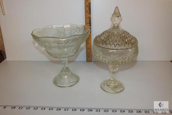 Retro Glass Candy Dish and Compote with Grape and Leaf Design