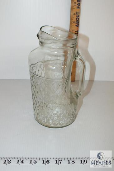Retro Pressed Glass Mason Jar Water or Milk Pitcher