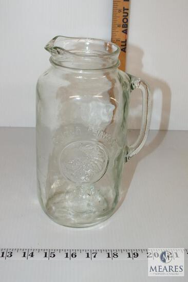 Vintage 48 oz. Golden Harvest Mason Jar Glass Pitcher Spout Handle