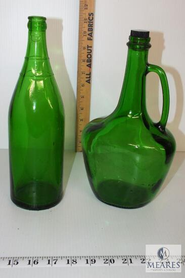 Vintage Green Glass Bottle and Jug