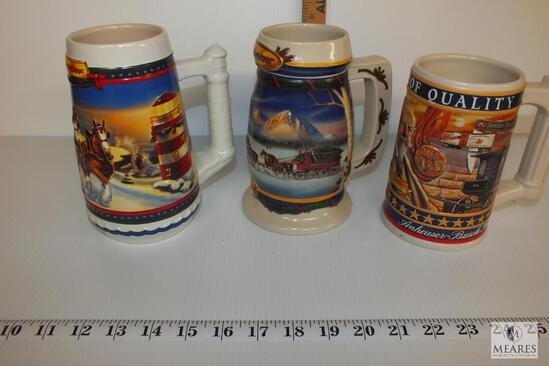 Budweiser Collectors Holiday Beer Steins with Busch Family Series
