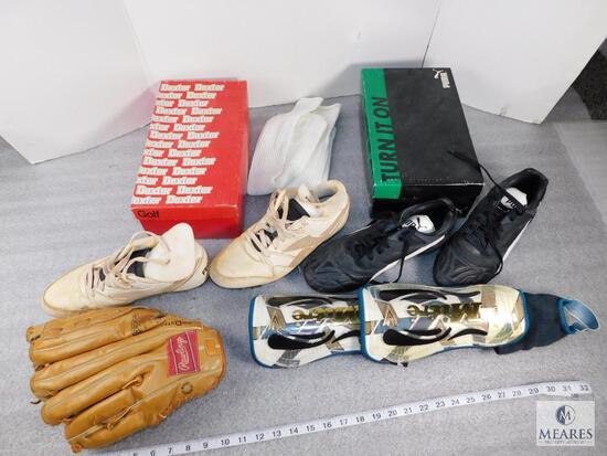 Lot of Assorted Baseball Items, Cleats, Baseball Gloves, Knee Pads