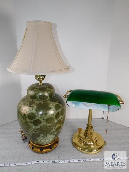 Underwriter Laboratories Brass Lamp with Glass Shade and 1 Ceramic Lamp