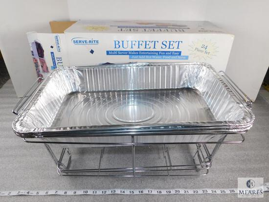 Serve-Rite Buffet Set - Only Includes 3 Chrome Plated Wire Racks and 3 Aluminum Pans