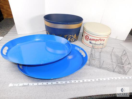 Lot of Assorted Buckets, Campfire Marshmallows Can, Trays, Serving Trays, Decorative Trays
