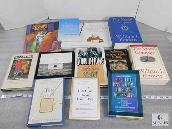 Lot of approx. 11 Assorted Books, Just Plain Folks, A Christian Primer, The Ten Gifts - See Photos