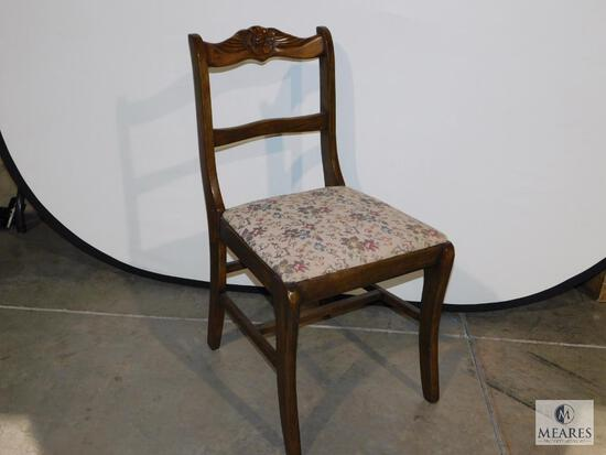 Vintage Wood Carved Chair with Needlepoint like Upholstered Seat