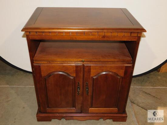 Wood Cabinet TV or Printer Stand Swivel Top on Casters