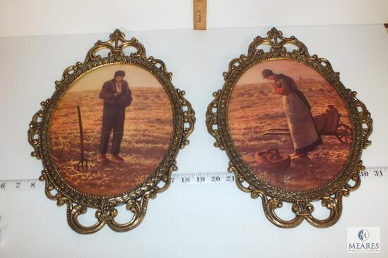 Vintage Convex Oval Ornate Frame of Praying Farmer and Farmer's Wife