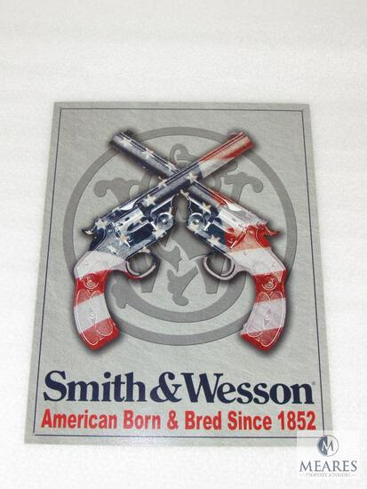 New Tin Sign Smith & Wesson American Born & Bred Since 1852 USA Flag Revolvers