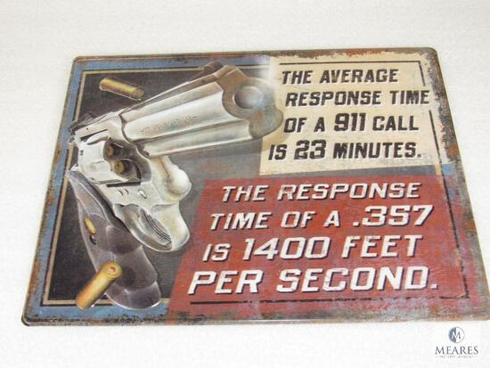 New Vintage look Embossed Tin Sign Warning Response Time 911 23 Minutes .357 Mag 400' Per Second