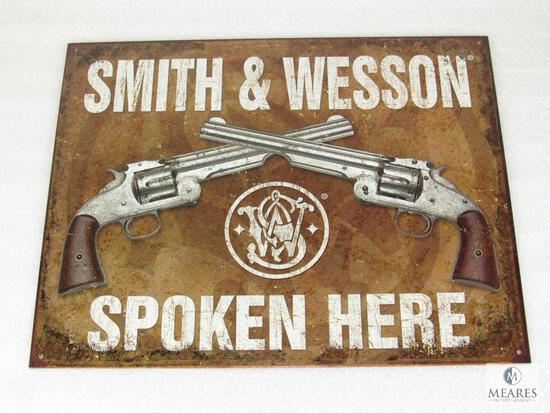 New Vintage look Tin Sign Smith & Wesson Spoken Here top break revolvers