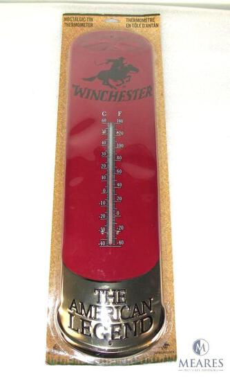 "New Winchester large Nostalgic Shotgun Shell Tin Sign Thermometer 25"" x 7"""