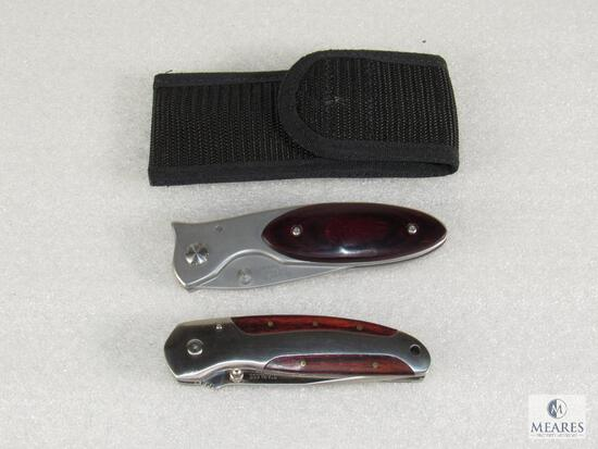 Lot 2 Stainless Steel Folder Pocket Knives with Belt Clip (1) Jim Frost design with Sheath