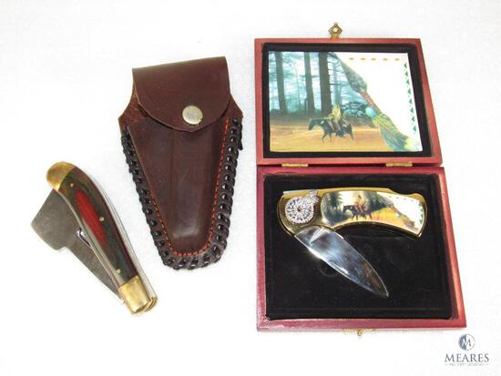 Buffalo Bob's Pocket Chopper Combination Folder Axe & Clip Blade & Indian Collector Knife