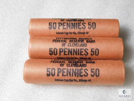 Three Rolls BU 1960 Lincoln Cents in Original Federal Reserve Wrappers