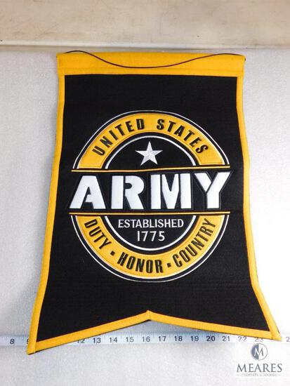 "New Genuine Wool Blend Embroidered Army Banner 20"" x 14"""