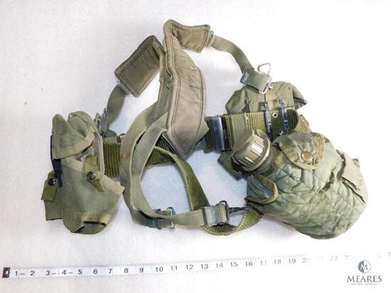 Lot Vietnam Era Military Load Belt, Suspenders with Ammo Pouches & Canteen with Cover