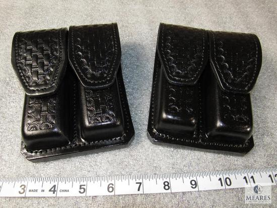 2 new leather double mag pouches horizontal or vertical wear for staggered mags like Beretta 92 and