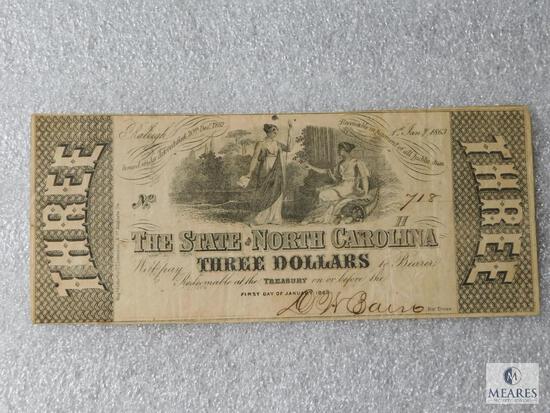 State of North Carolina $3 note - January 1, 1866