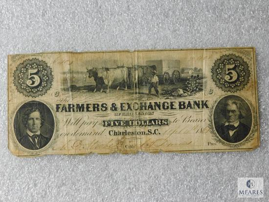 Farmers & Exchange Bank of Charleston SC - $5 note