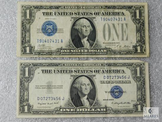 Group of 2: US small size $1 silver certificates