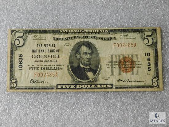 National Currency Note - The Peoples Bank of Greenville, South Carolina $5 note