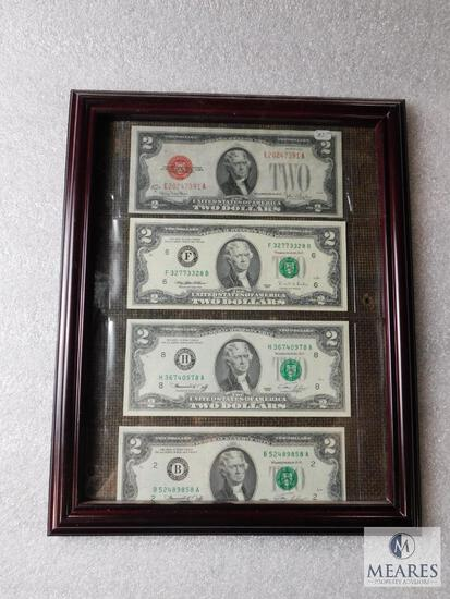 Framed US $2 note collection