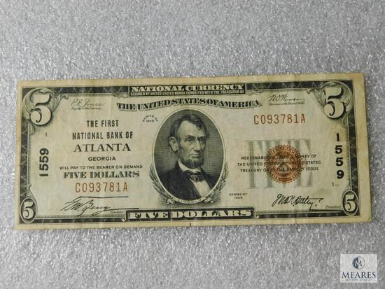 National Currency Note - The First National Bank of Atlanta, Georgia $5 note