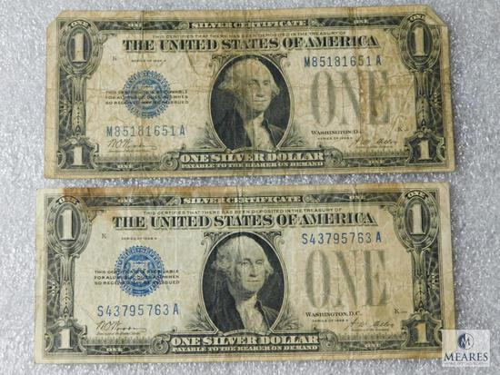 Lot of 2: US Small Size $1 Funny Back Silver Certificates