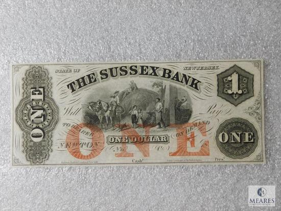 Sussex Bank of New Jersey - $1 note - unsigned unnumbered