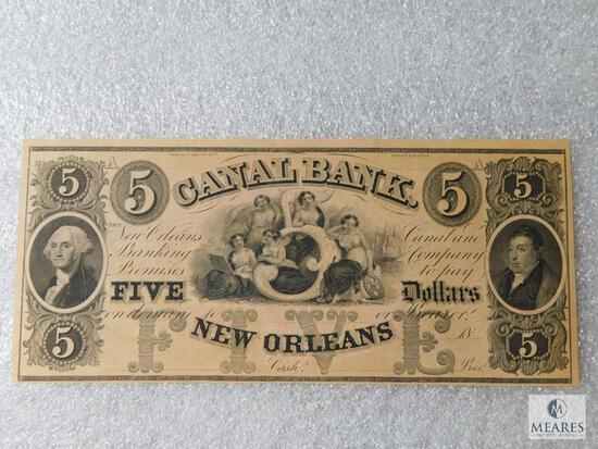 Canal Bank of New Orleans - Five Dollar note - 1850s obsolete currency