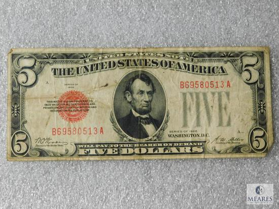 Series 1928 US $5 small size red seal note