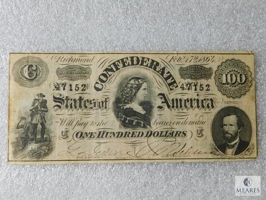 Civil War CSA 100 dollar currency note - Feb 17, 1864