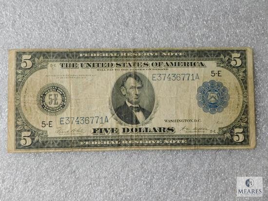 Large format - US $5 Federal Reserve note - Series 1914