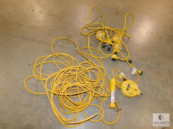 Lot Drop Cord Power Cable & Set of Stringer Lights