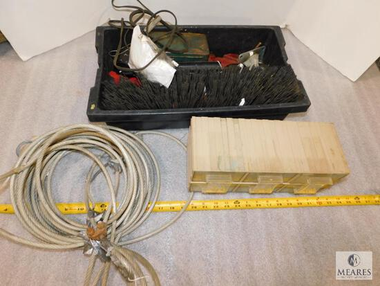 Bin of assorted Tools - Wire Cable, Brush, and Parts Bin
