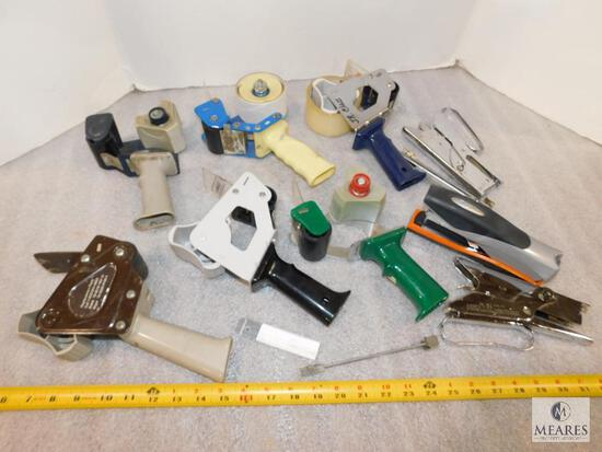 Lot of Packaging Tape Dispensers and Staple Guns
