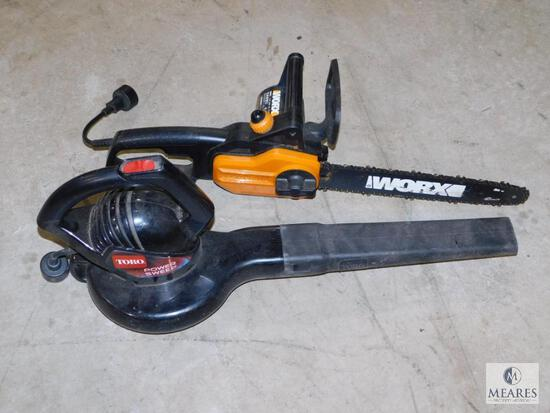Lot electric Toro Power Sweep Leaf Blower & Worx Chainsaw