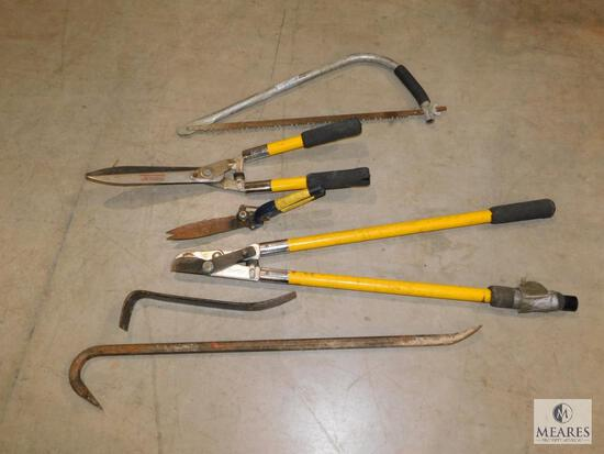 Lot of Garden Tools - Bow Saw, Hedge Trimmers, Pruners, Pry Bars