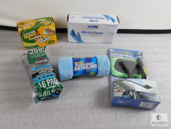 Lot of Cleaning Items; Dusting Clothes, Nitrile Gloves, Steel Wool, & Microtex CLoth