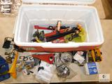 Coleman Cooler with Assorted Tools, Door Knobs, and Hardware Items