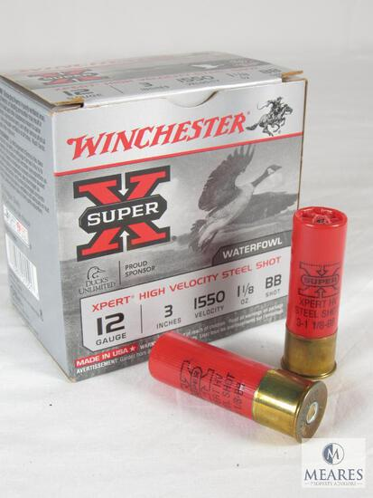 """25 Shells Winchester Super X 12 Gauge 3"""" 1550 Velocity 1-1/8 oz BB Shot Shotgun Shells"""